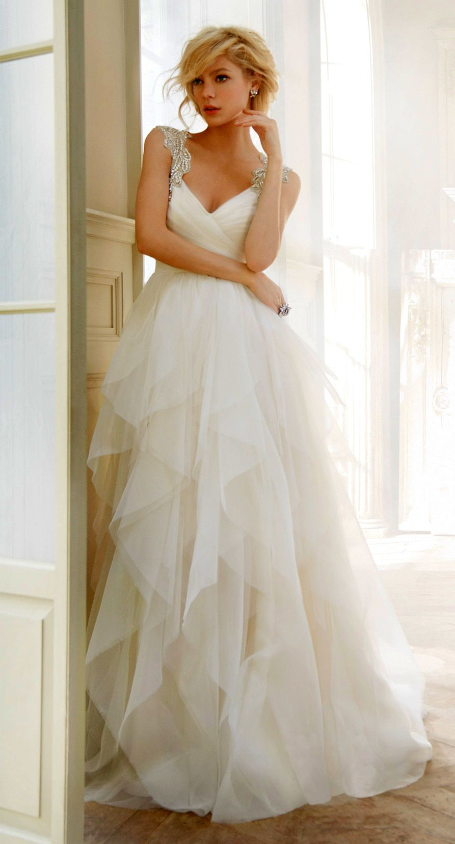 Hayley paige dori wedding dress  Hayley Paige Wedding Dress with Crystal Straps Would love it more