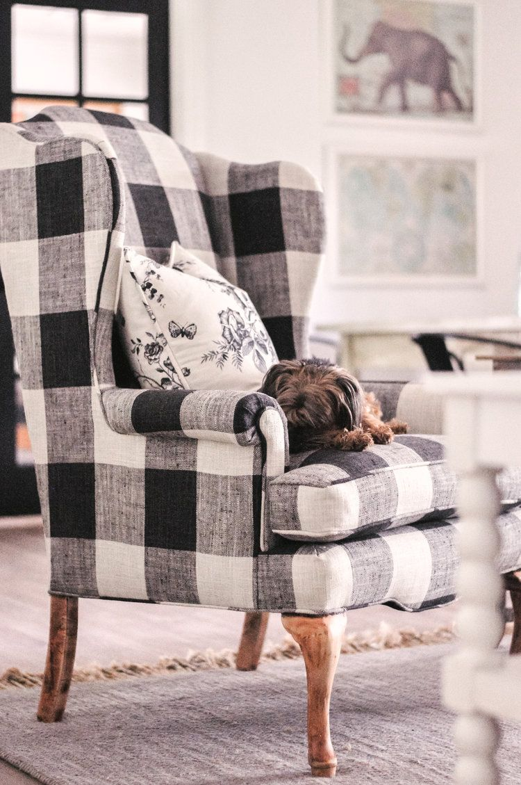 Top Phoenix Life And Style Blogger Love And Specs Plaid Living Room Black And White Living Room Farm House Living Room #plaid #chairs #living #room