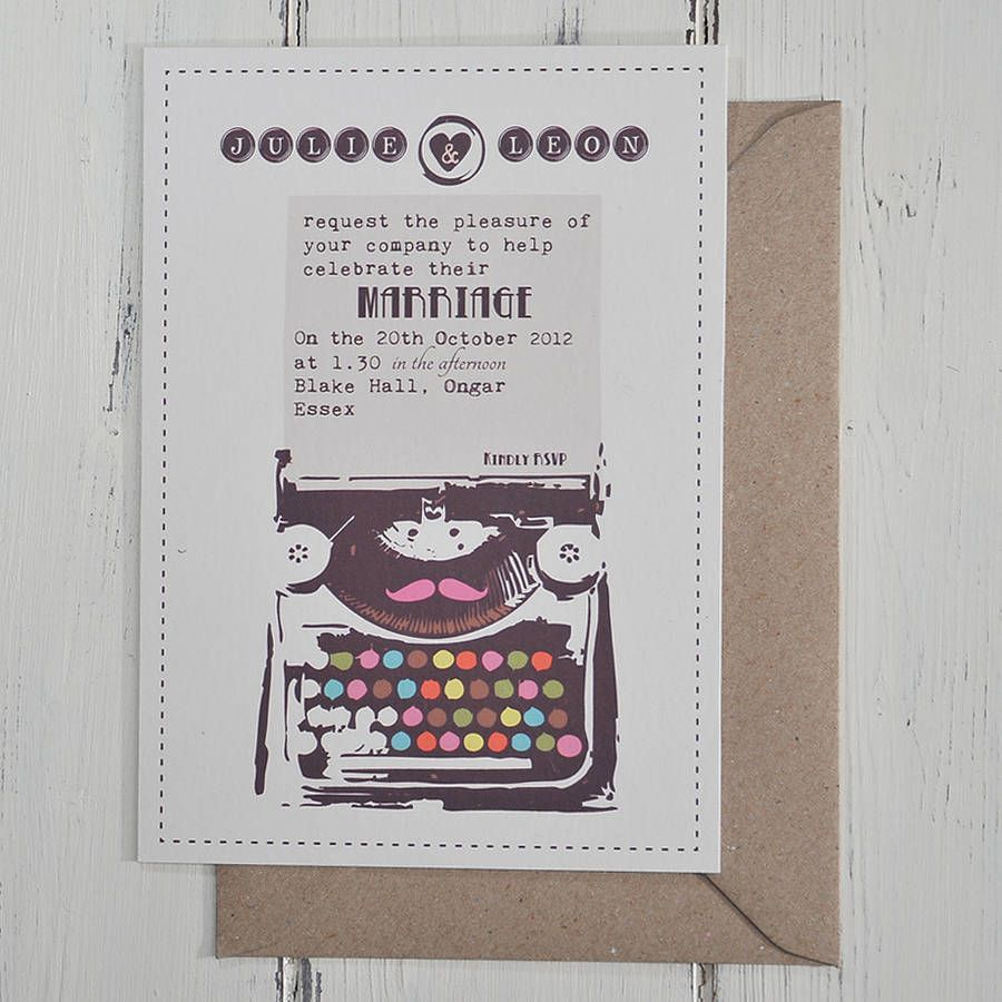 Vintage Typewriter Wedding Invitation | Vintage typewriters ...