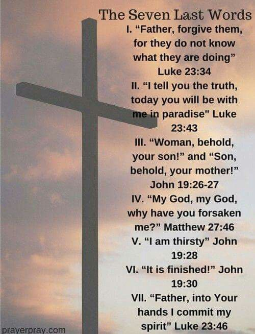 Let us read Jesus' seven last words before he died on the cross and let us reflect http://bit.ly/1LLYrAX