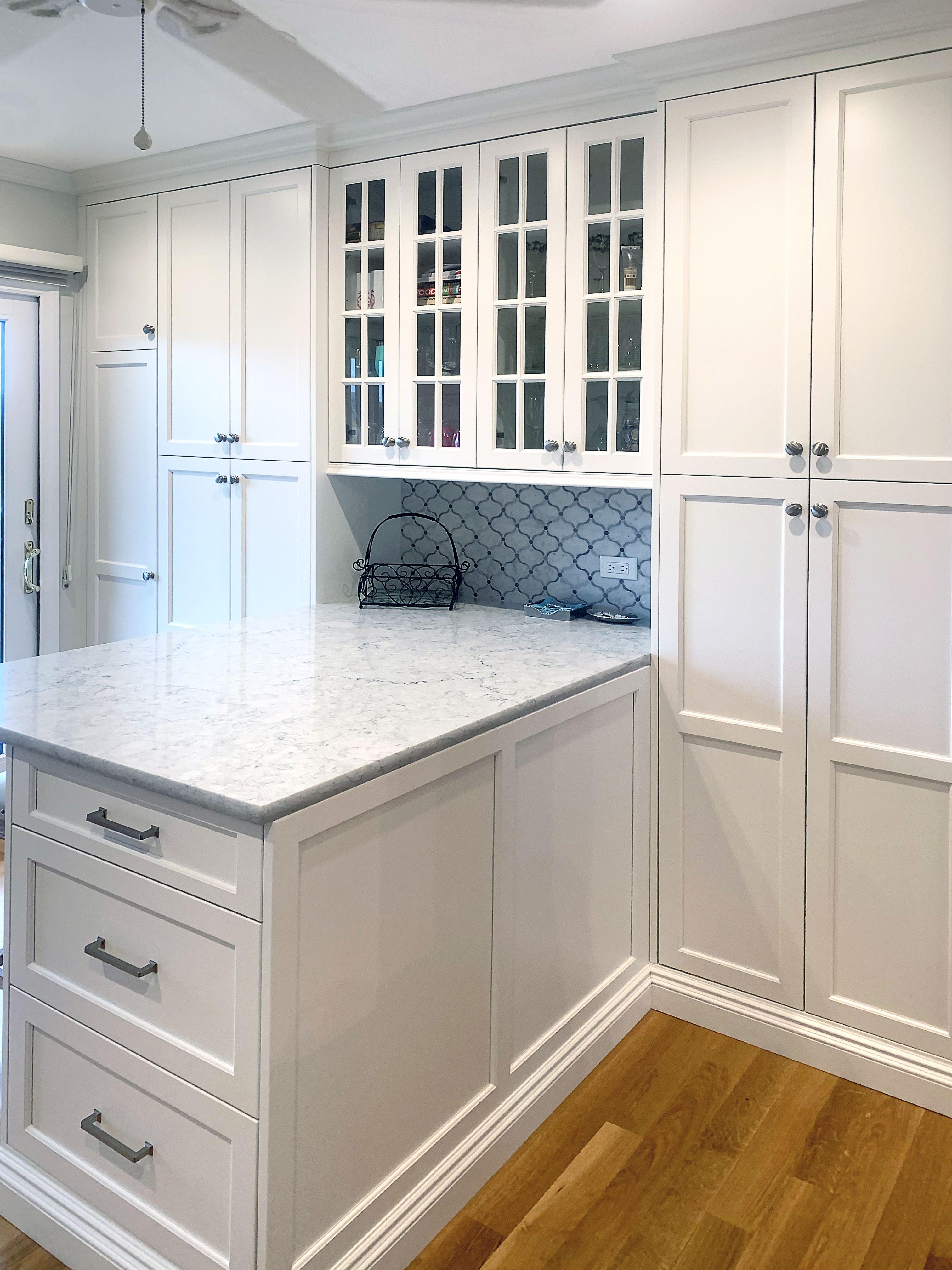 White Kitchen With Peninsula In 2020 White Kitchen Pantry Cabinet Tall Kitchen Cabinets White Kitchen Pantry
