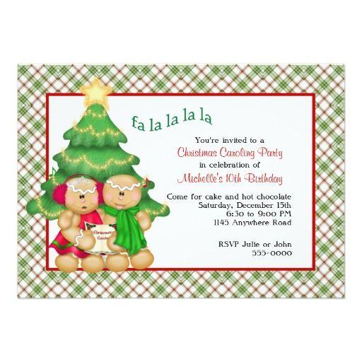 Christmas Caroling Birthday Invitation | birthdays | Pinterest ...