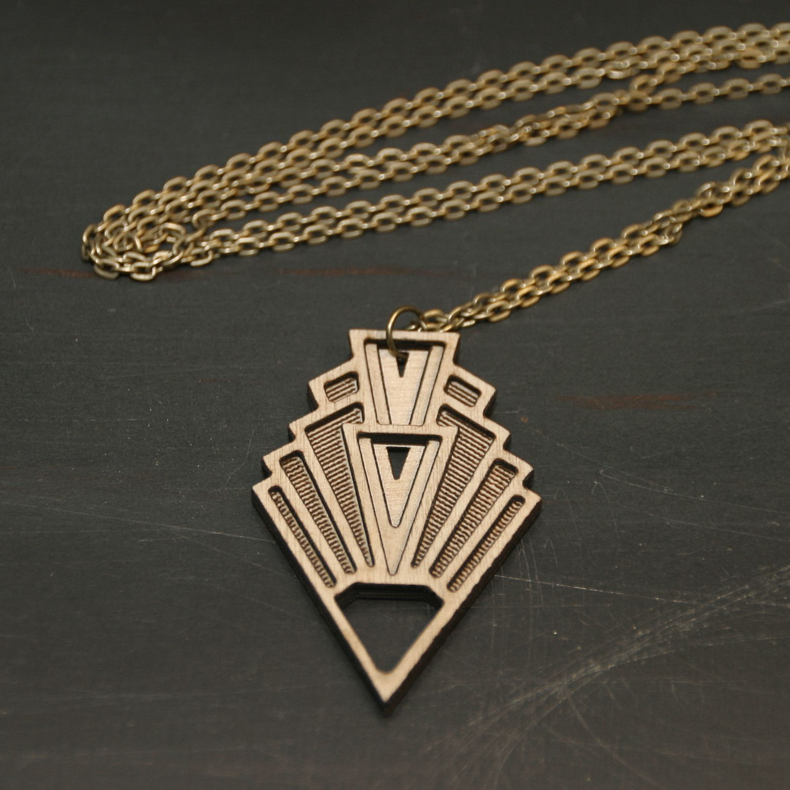 Art deco geometric necklace laser cut wood wood necklace and art deco
