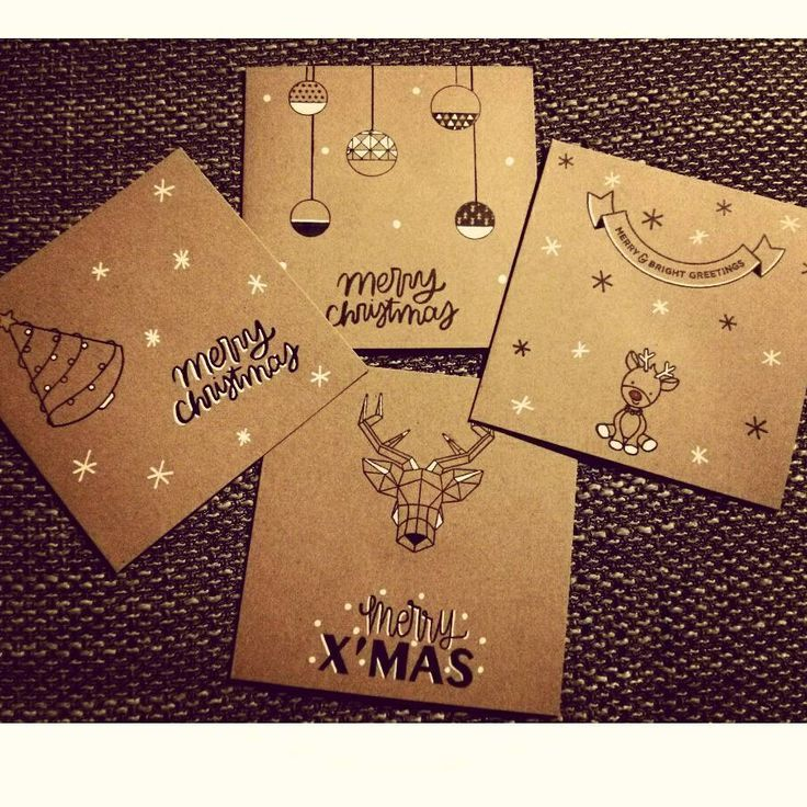 Weihnachtskarten braun / schwarz / weiß #black