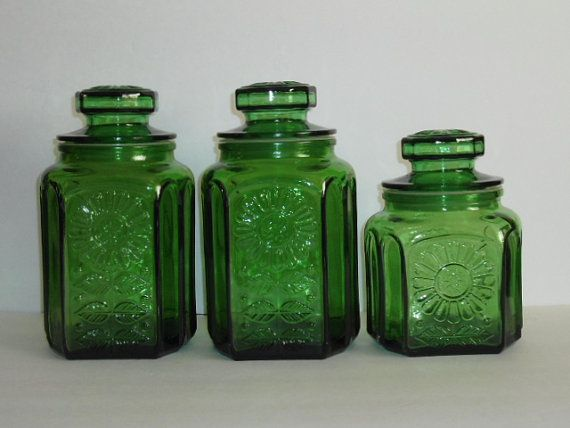 Vintage Green Glass Kitchen Canister Set Wheaton New Jersey Sunflower Pattern Apothecary Jar Decorative Kitchen Storage