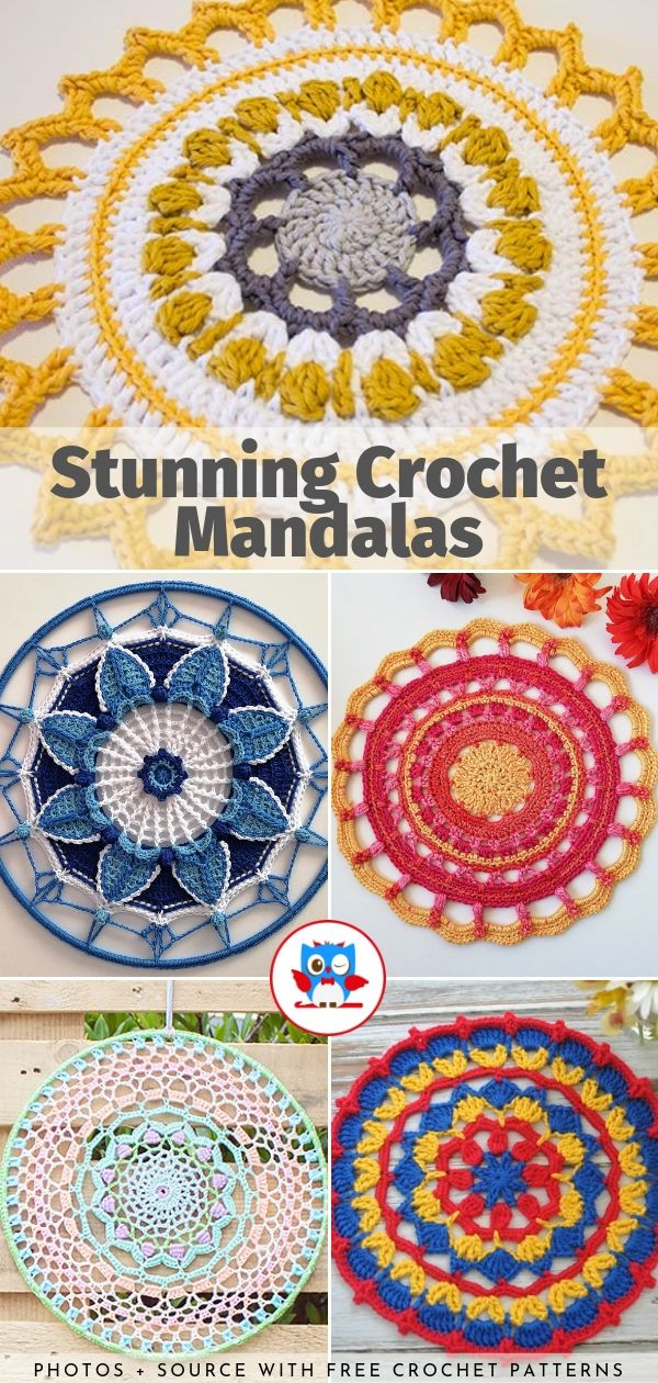 Stunning Crochet Mandalas Free Patterns is part of Crochet mandala, Crochet patterns, Free crochet pattern, Free pattern, Mandala, Crochet - Make a beautiful decoration for your home today with our collection of Stunning Crochet Mandalas  These circular designs are very decorative and ornamental, but you can use them in many ways  Place them on the table like placemat or coaster, hang on the wall or use them as small rugs
