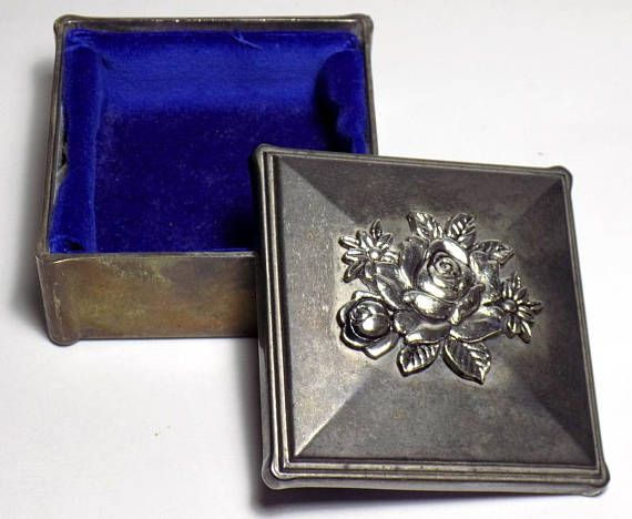 Vintage Silver Plated Jewelry Box Small Metal Rose Lidded Vintage