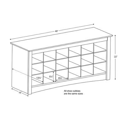 Shoe Storage Cubbie Bench Drifted Gray Prepac