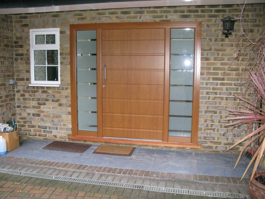 Exterior, : Inspiring Front Doors Decorations With Single Big Oaks Doors  Also Frosted Glass Side Combined Iron Handle And Brick Walls Ideas