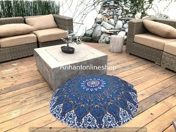 Mandala Cotton Round Cushion Pillow Hippie Large Ottomans Ombre Seating Ottomans Footstools Hippie D