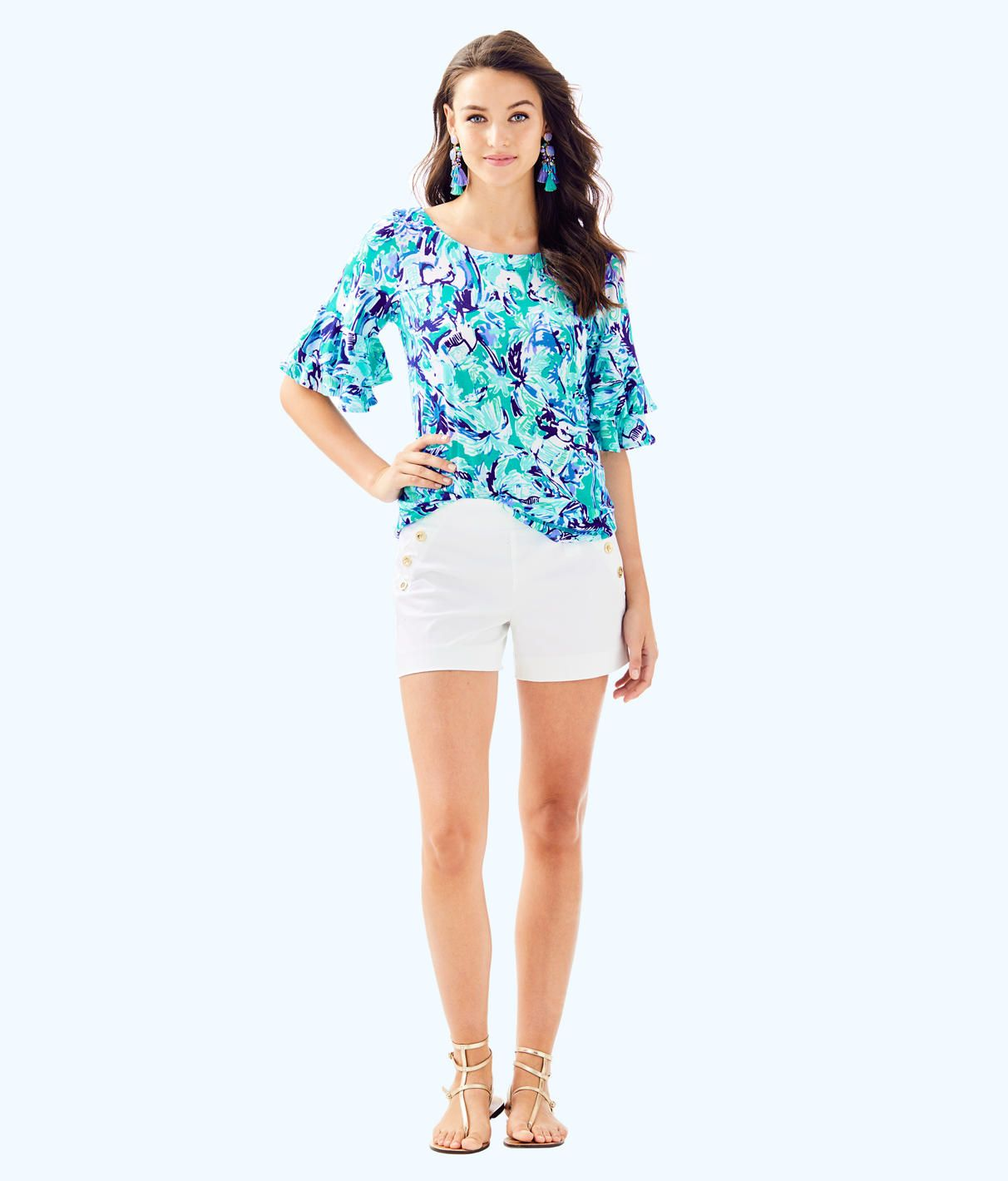 245340bbad560c Lula Top, Tropical Turquoise Elephant Appeal, large | Lilly! | Tops ...