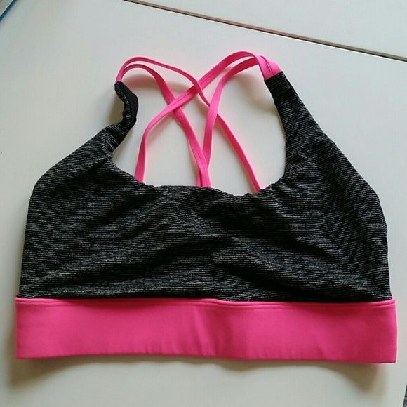Victoria's Secret Sports Bra Black- gray striped with pink straps not padded no pushups worn only once Victoria's Secret Intimates & Sleepwear Bras