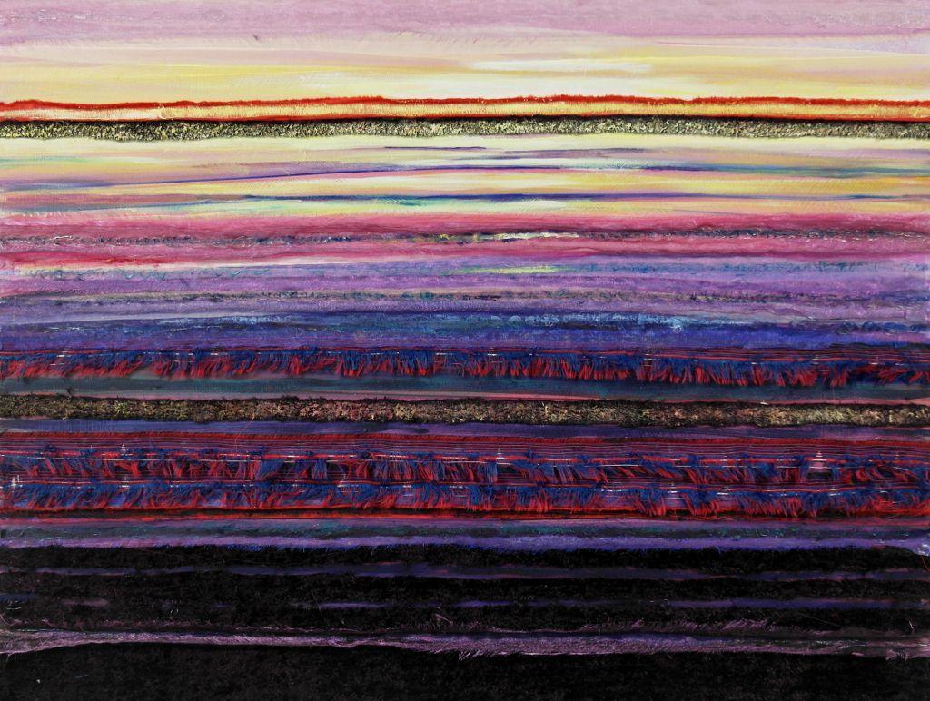 Horizon IV Een deel van det nederlandse landschap vormt de inspiratie voor dit schilderij. Textiel en acrylverf zijn verwerkt. Gita Kalishoek