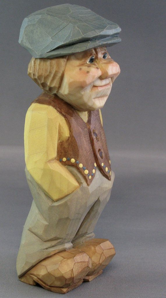 Hand carved wood scandinavian caricature nordic faces