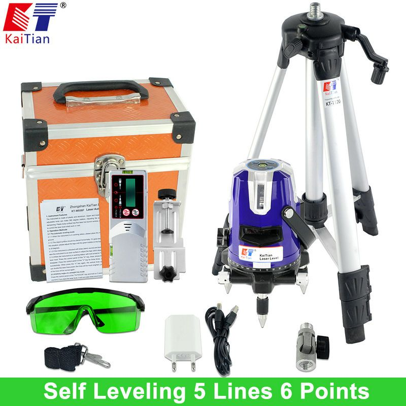 Kaitian Green Laser Level With Outdoor Tripod Tilt Function 360 Rotary Self Leveling 532nm 5 Lines Vertical Horizontal Lasers Tools Rotary Green