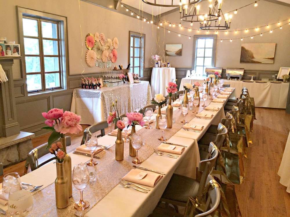 Wedding Champagne And Table Decorations Pink