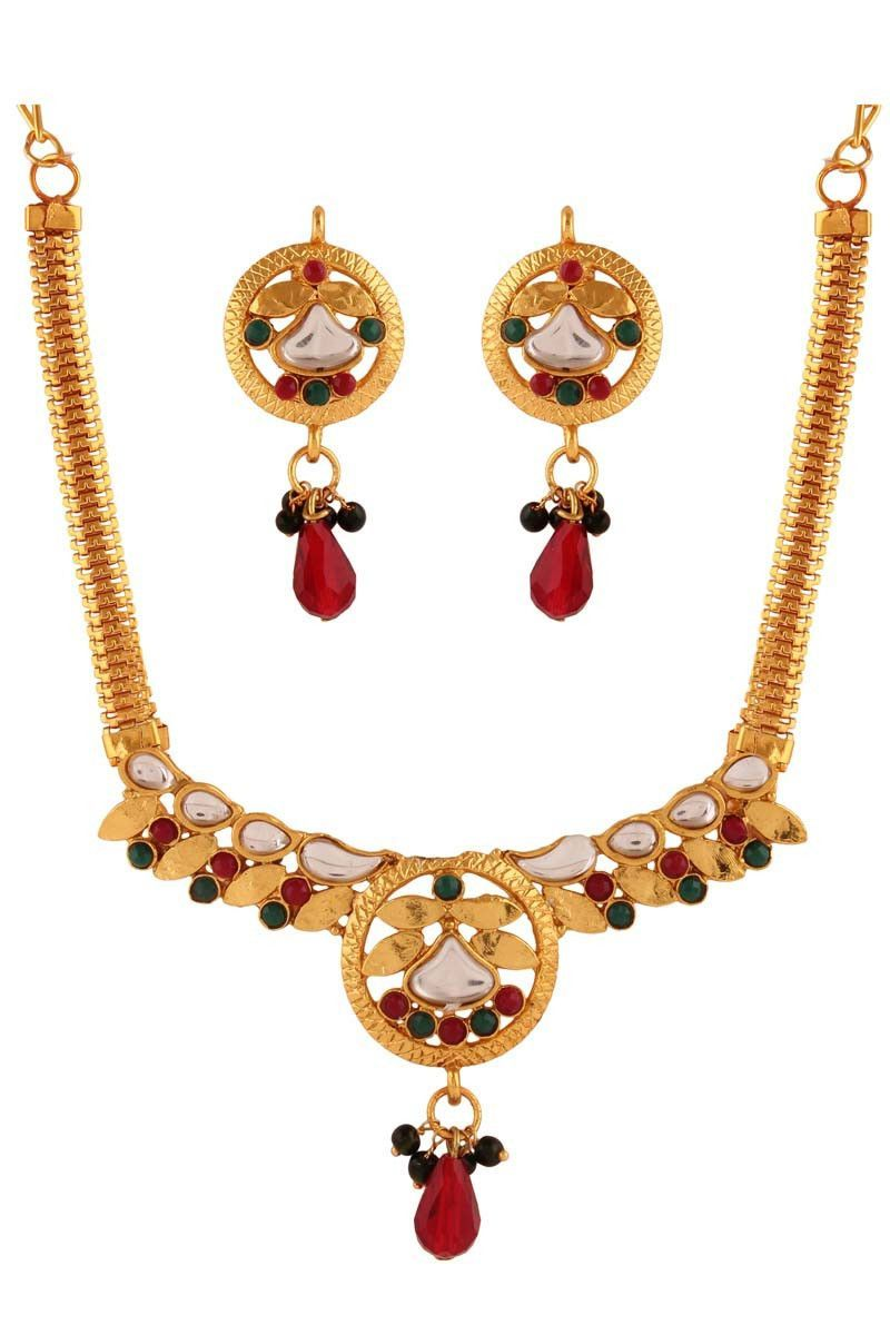 Red gold plated kundan necklace set with earrings necklace sets on