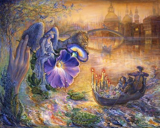'Twight Angel' by Josephine Wall   Nestling on her floral perch an angel surveys her handiwork. She watches as lovers are serenaded in their turtle drawn boat, bathed in the warm glow of candlelight. Responding to their request for a night of romance she creates for them a magical twilight world. A place where buildings appear to rise from the water, and a unicorn heads out on a mission of peace. With her ever present companion she is happy to give them a helping hand to realise their…