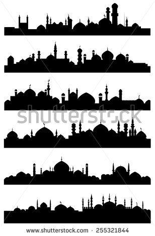 Mosque Silhouette Vector : mosque, silhouette, vector, Islamic, Mosque, Silhouette, Vector, Download, Free-Vectors, Silhouette,, Skyline, Drawing,, Paintings