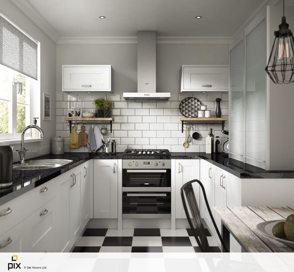 Download Wallpaper White Kitchen Cupboards Black Worktop