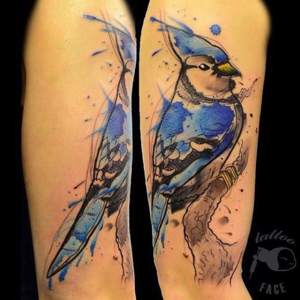 Favorite Animal Tattoos Watercolor Tattoo Blue Jay Tattoo