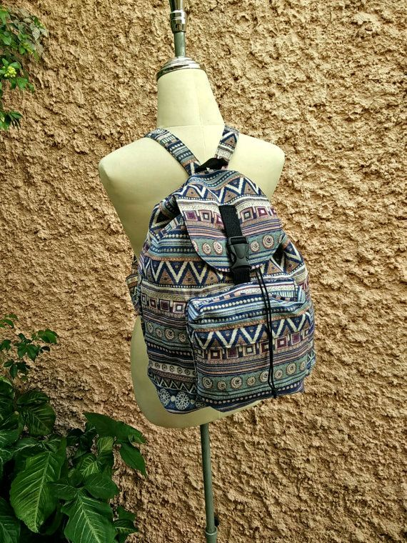 Backpack Aztec Boho Tribal rucksack fabric by TribalSpiritShop Hipster  Pattern, Hobo Style, Travel Bags 8360a70a75