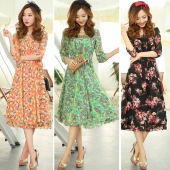 Summer Sweet Women's Chiffon Floral Printed 3/4 Sleeve Long Dress Skirt 3 Colors