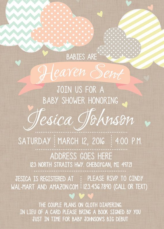 Heaven Sent Baby Shower Invitation Gender Neutral Baby Etsy Baby Shower Gender Neutral Baby Shower Gold Baby Shower Invitations