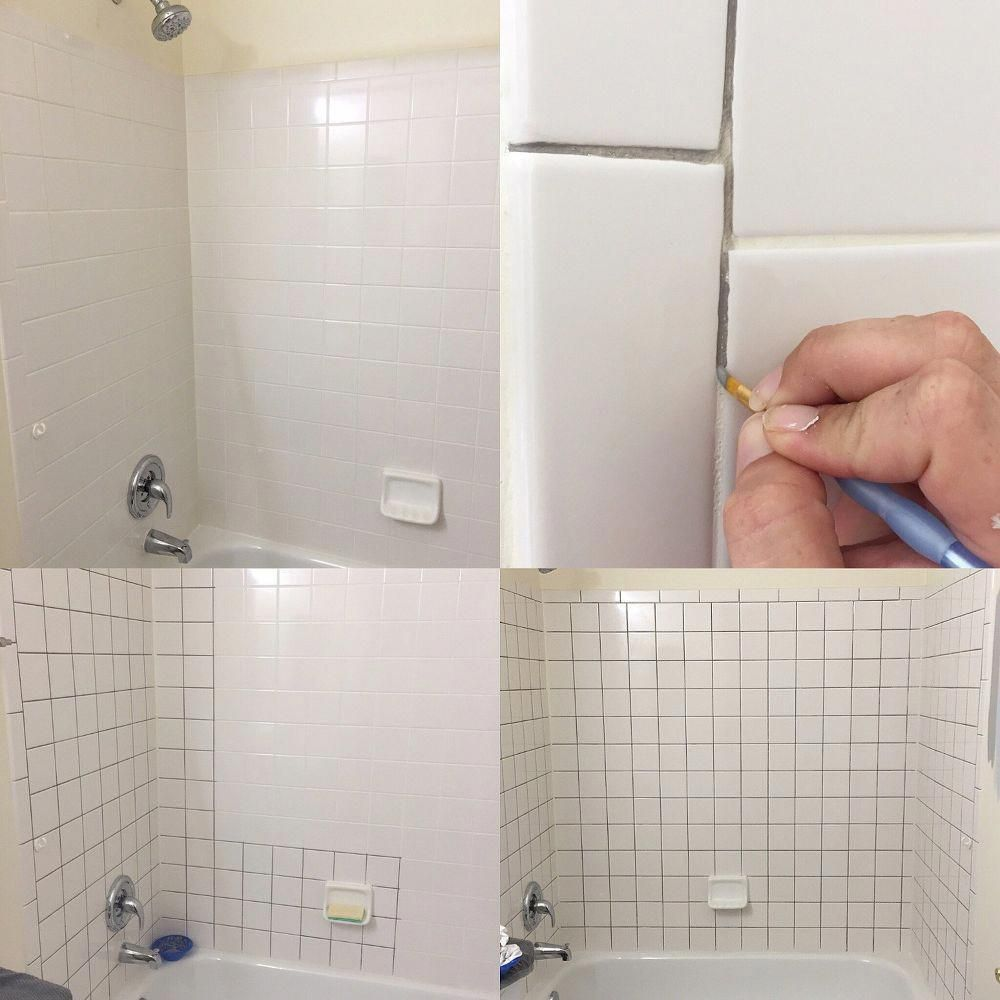 How To Refinish Outdated Tile Yes I Painted My Shower Bathroom Makeover Bathroom Repair Painting Bathroom Tiles