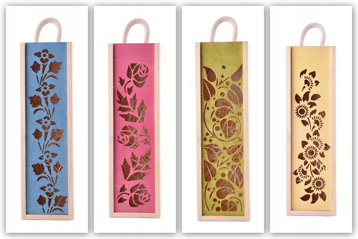 Eko Skrzynka Kolorowa Na 2 Wina Imieniny Prezent Wine Gift Boxes Decoupage Box Wood Wine Box