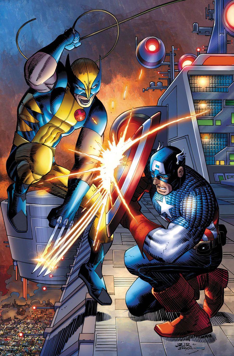 Wolverine vs Captain America by John Romita Jr.....!!!!