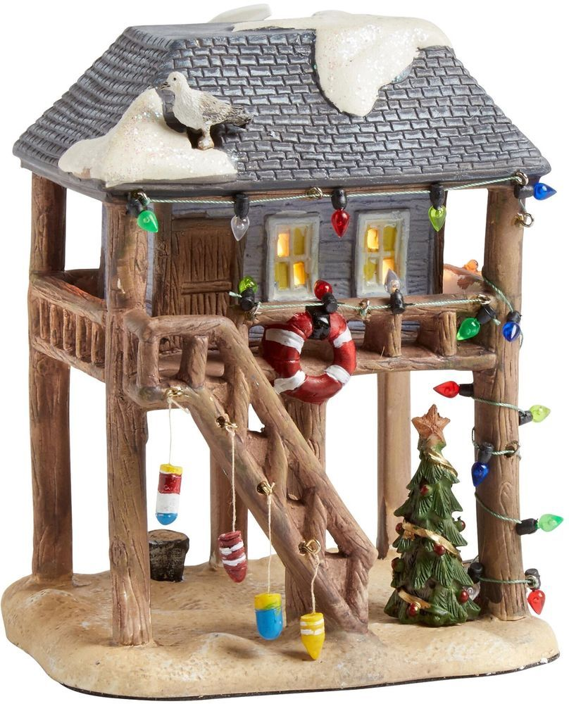 Christmas Village Houses.Christmas Village Beach House Lighted Porcelain Decoration