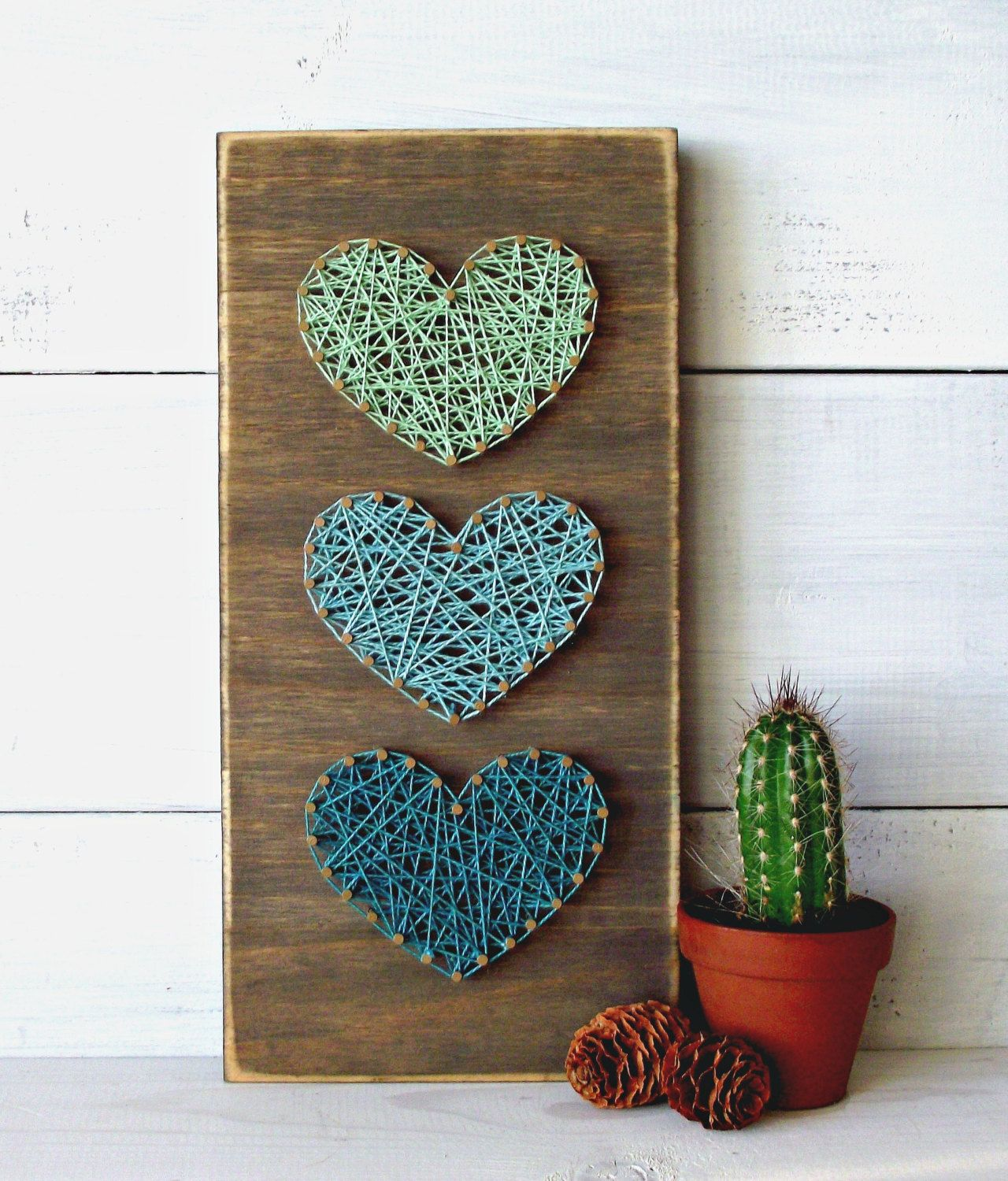 Teal & Mint Mini Hearts String Art Sign Heart by LoveArtSoul11 ...