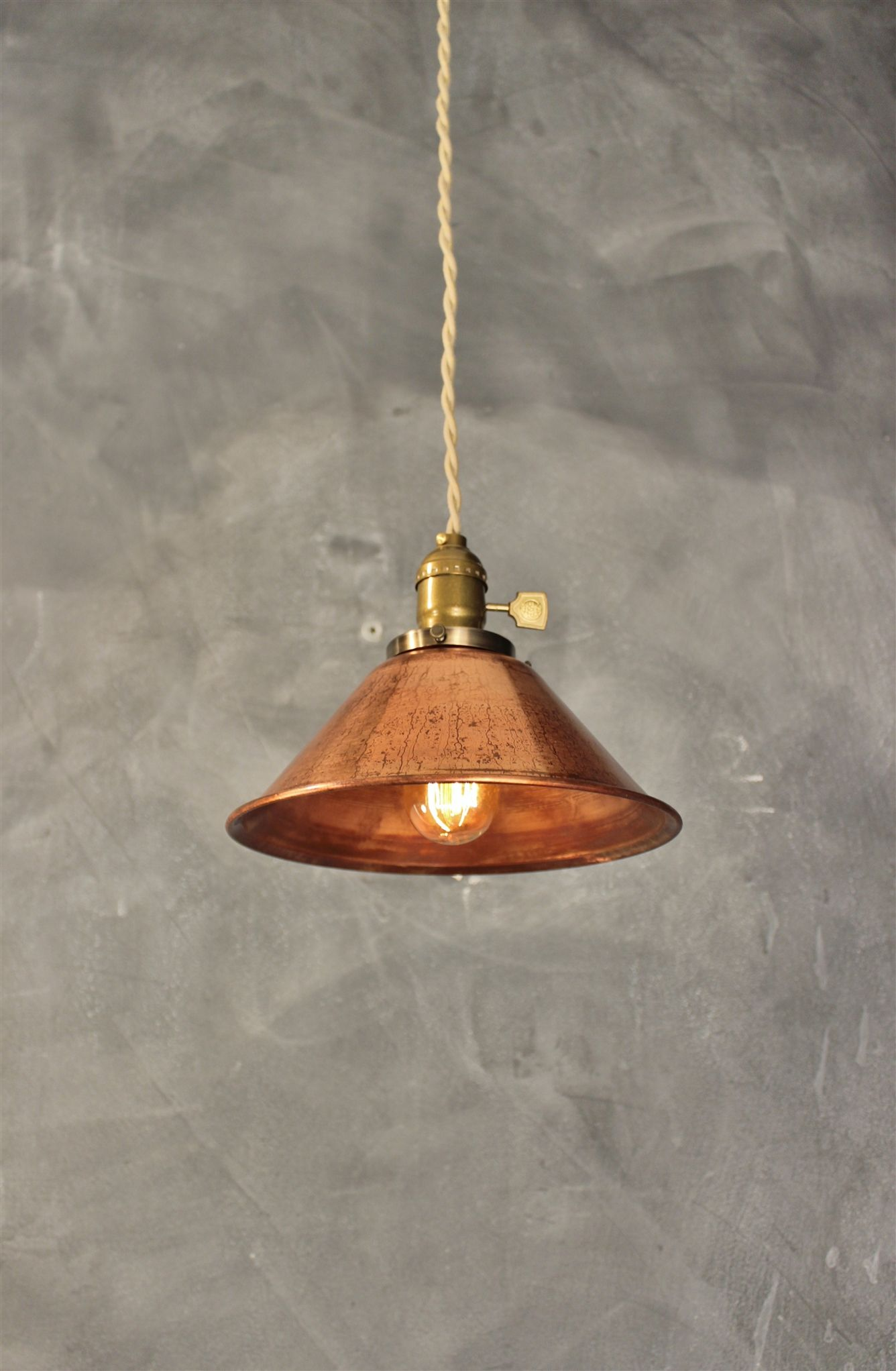 Industrial Pendant Lamp W Weathered Copper Lamp Shade Vintage