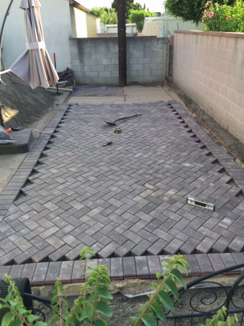 Our Diy 45 Degree Herringbone Patio Pavers Are Almost Complete