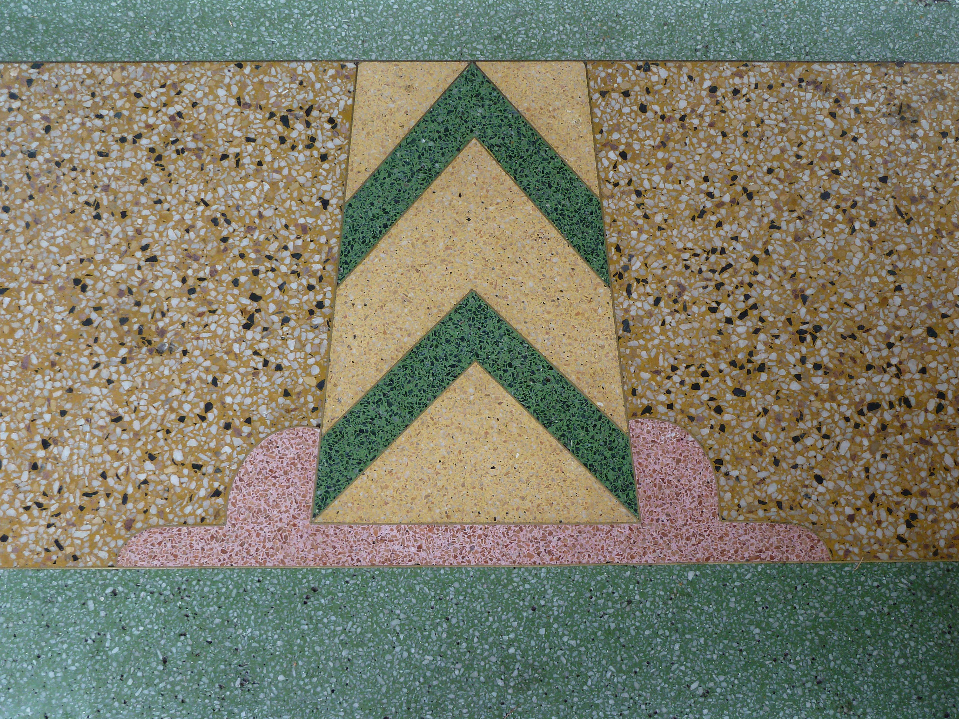 Terrazzo art deco shop entrance step blackheath australia look