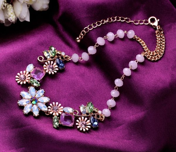 El envío gratuito! de lujo de cristal gota de agua de oro margarita estrella collar llamativo Imitación diomands populares joyería del partido