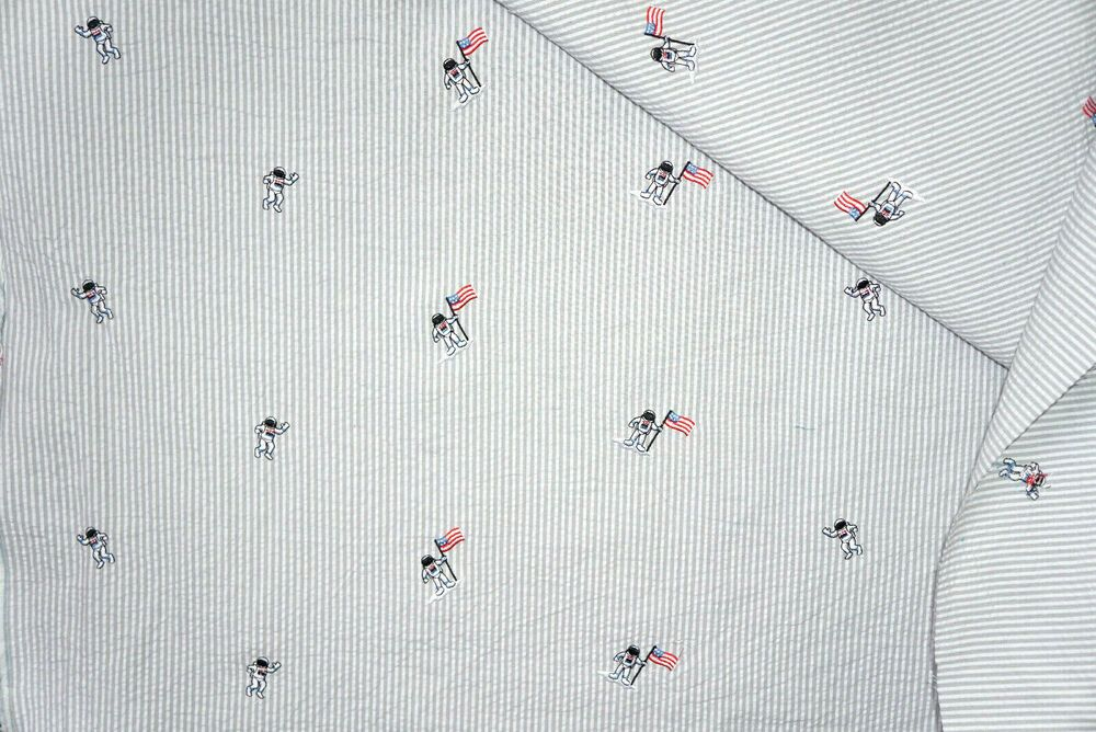 Embroidered Moon Landing Cotton Seersucker Fabric Astronaut By The