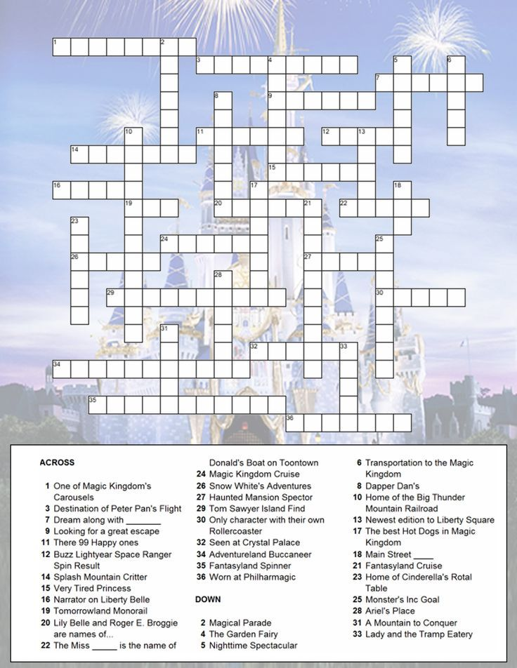 Magic Kingdome Crossword Puzzle Disney Word Search