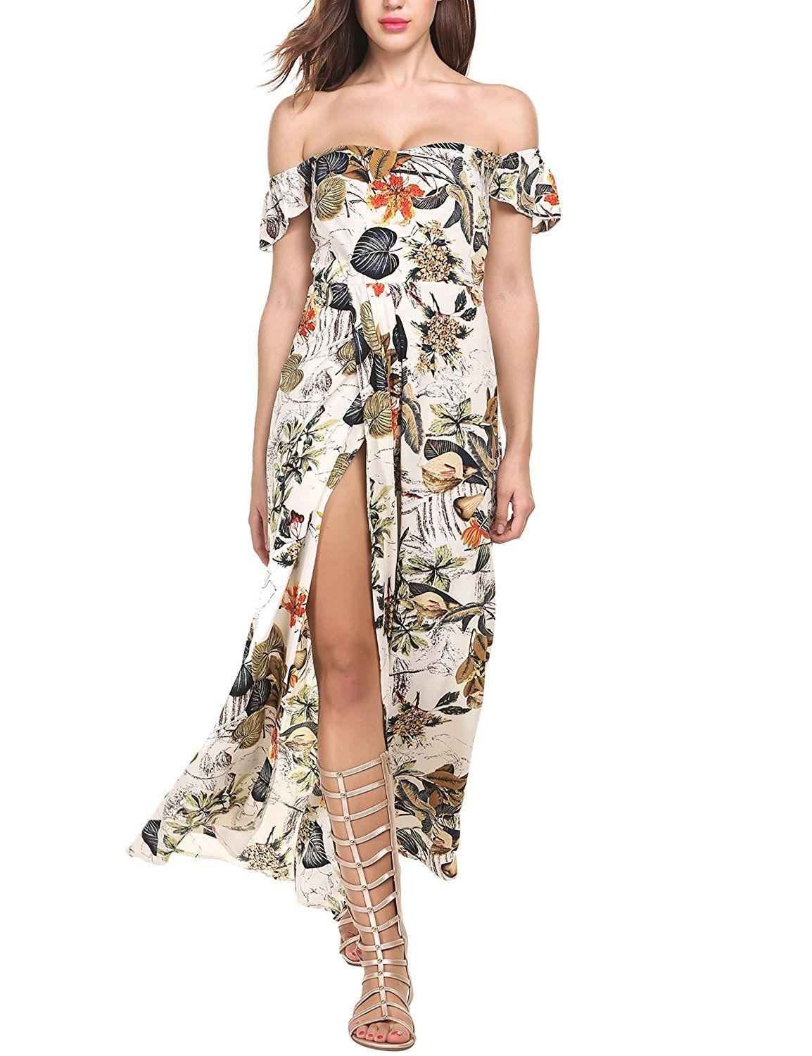 bb49473f79c8 Meaneor Women Multicolor Floral Off The Shoulder Backless Split Maxi Beach  Dress at Amazon Women s Clothing store