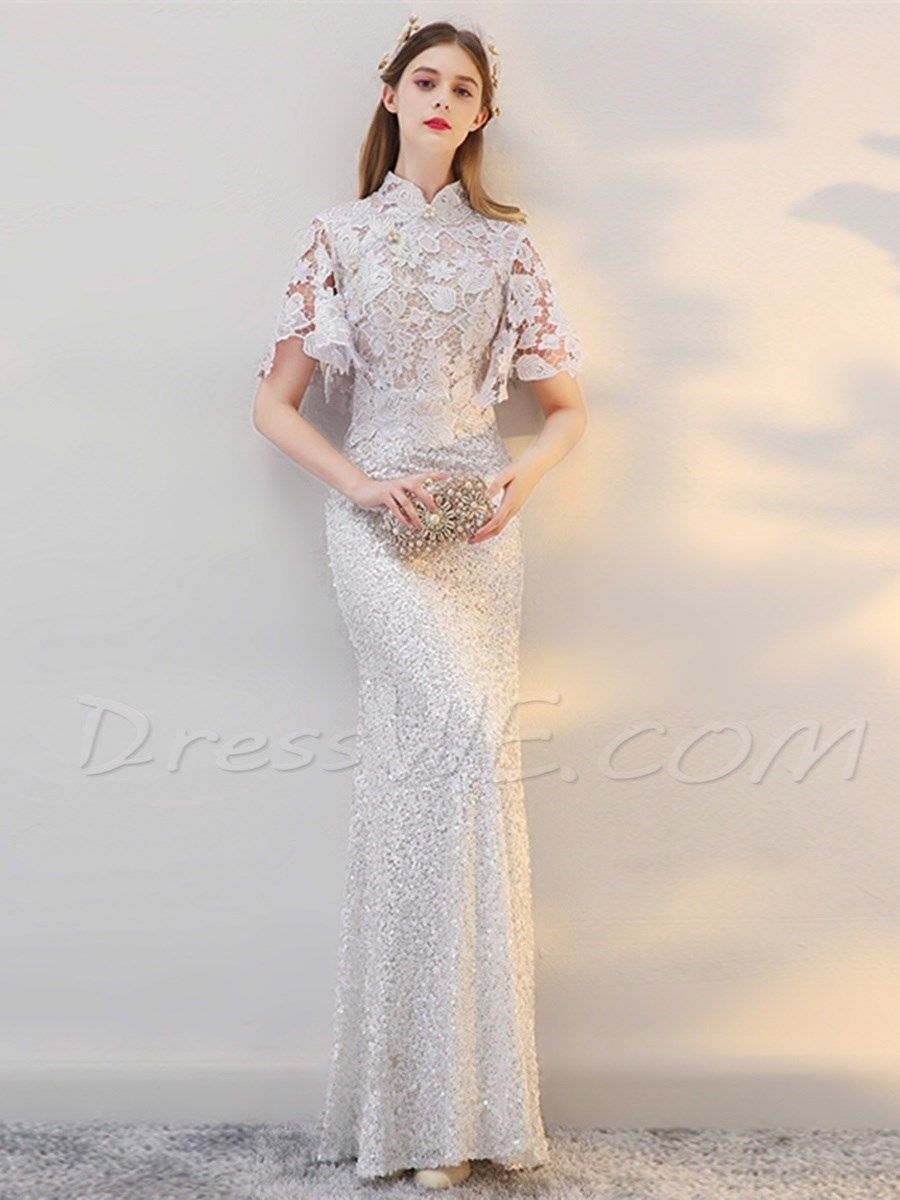 Sheath high neck short sleeve lace prom dress stuff to buy