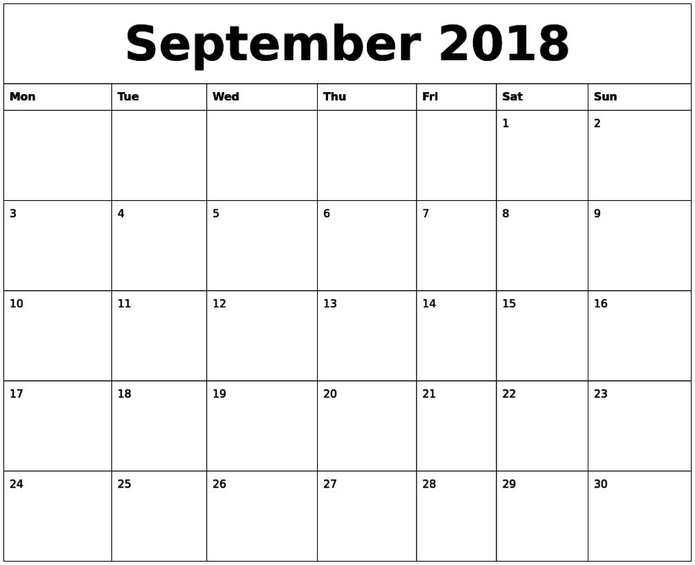 editable calendar september 2018 pdf