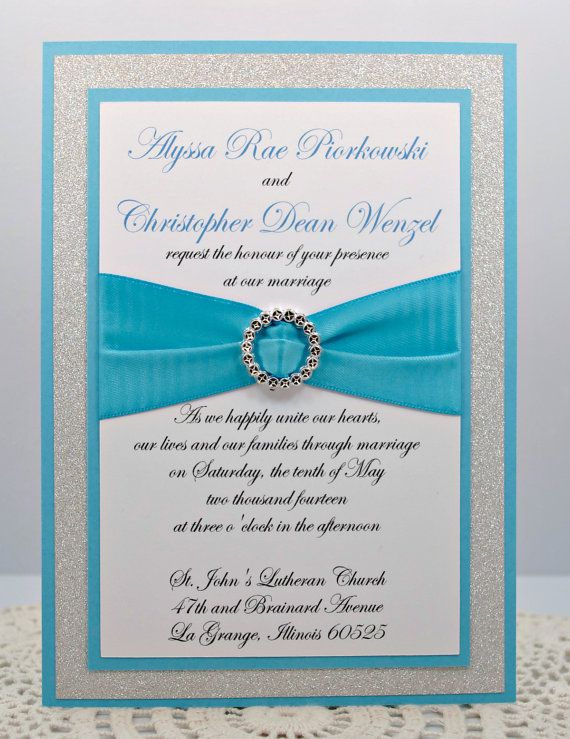 Wonderful DIY Stunning Turquoise U0026 Silver Glitter Wedding Invitation Full Of Bling,  Sparkle, And Dazzle