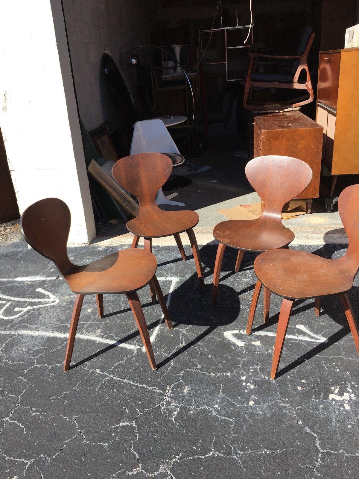 set of 4 plycraft norman cherner chairs mid century modern vintage