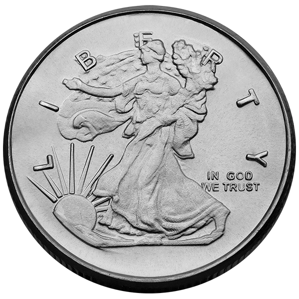 1 4 Oz Silver Round Walking Liberty Design Minted Privately In The U S The 1 4 Oz Silver Round Features The Eagle Coin Gold And Silver Coins Silver Coins