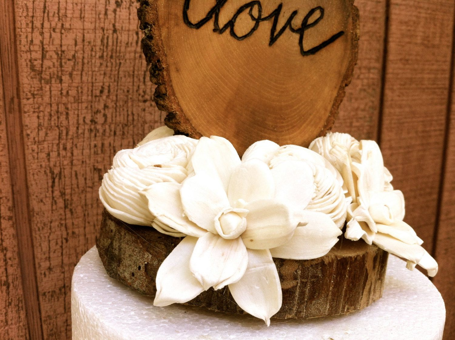 Rustic wedding cake topper wooden cake topper love wedding cake