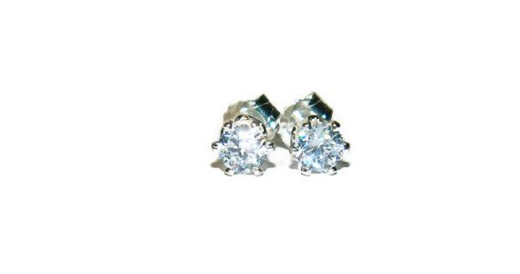 Tiny Diamond Stud Earrings Small Cubic Zirconia Sterling Silver