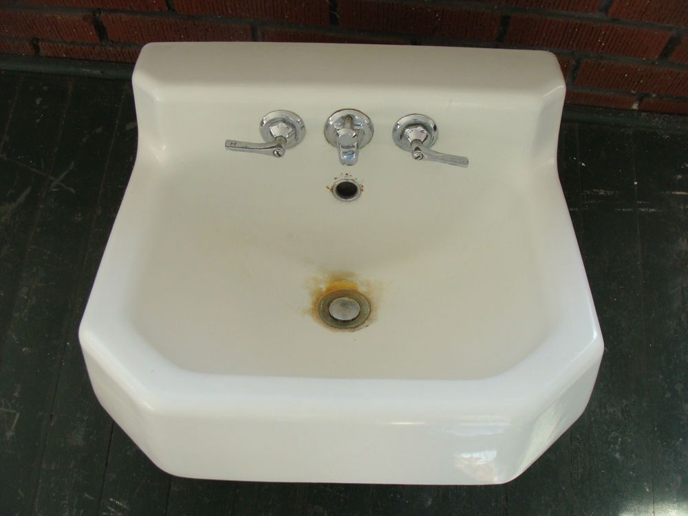 Vintage 1950s Kohler White Cast Iron Porcelain Sink Bathroom Plumbing