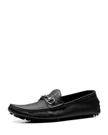 b6fe1f46e GUCCI Damo Leather Horsebit Driver, Black. #gucci # | Gucci Men ...