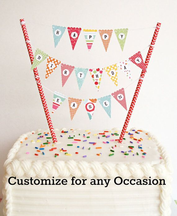 1 Mini Cake Banner Bunting DIY Kit Happy Birthday Anniversary Baby Shower Wedding Etc Topper Or Cupcake
